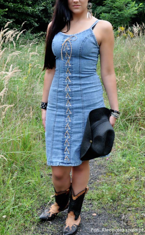jeanspwa sukienka z wiązaniem