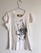 Biały Tshirt z kotem Zara...