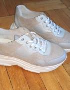 BULLBOXER sneakersy srebrne szare skóra naturalana 40...