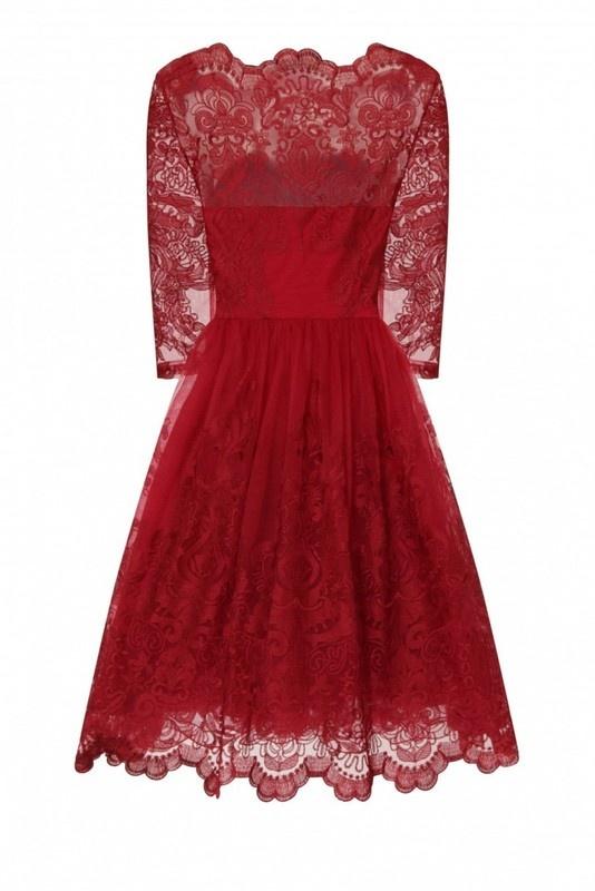 Sukienka Chi Chi London Midi Bordowa Koronkowa 38...