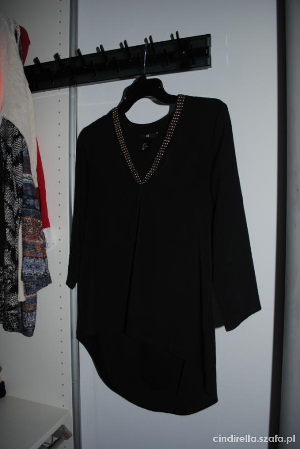 czarna bluzka koszula h&m 34 36 S xs zlote ozdoby