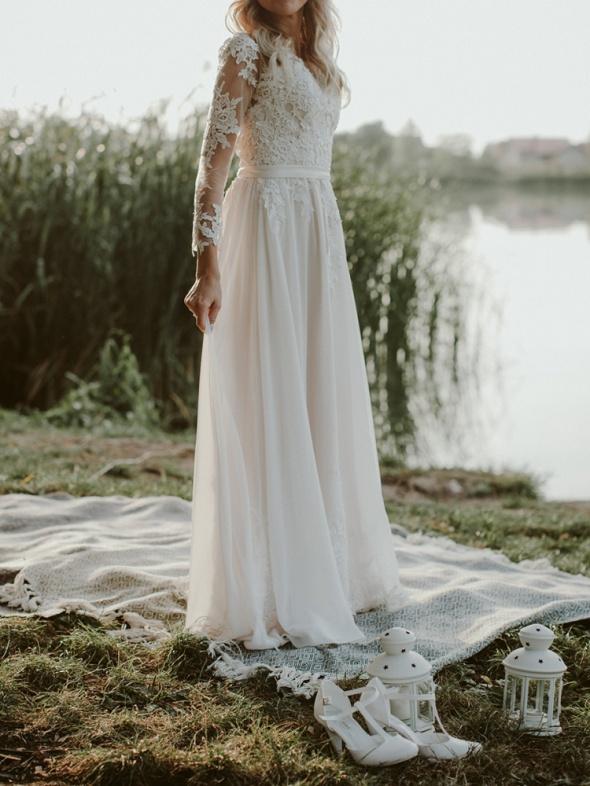 Suknia ślubna boho kolor Ivory kość słoniowa...