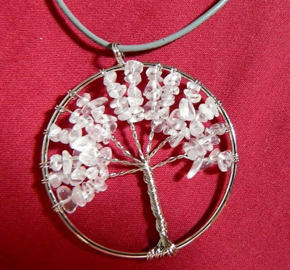 Drzewko z kryształem wisior wire wrapping