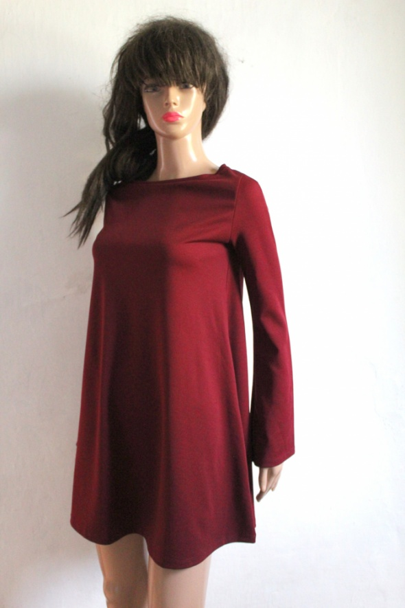 Suknie i sukienki Bordowa trapezowa sukienka r S