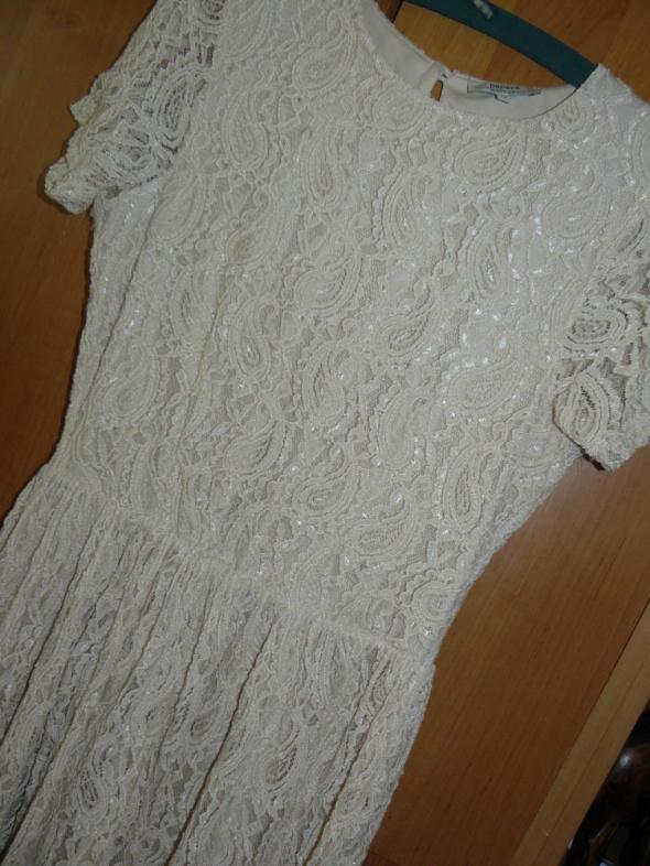 Suknie i sukienki Sukienka Beżowa Koronka Papaya 12 L M Cud