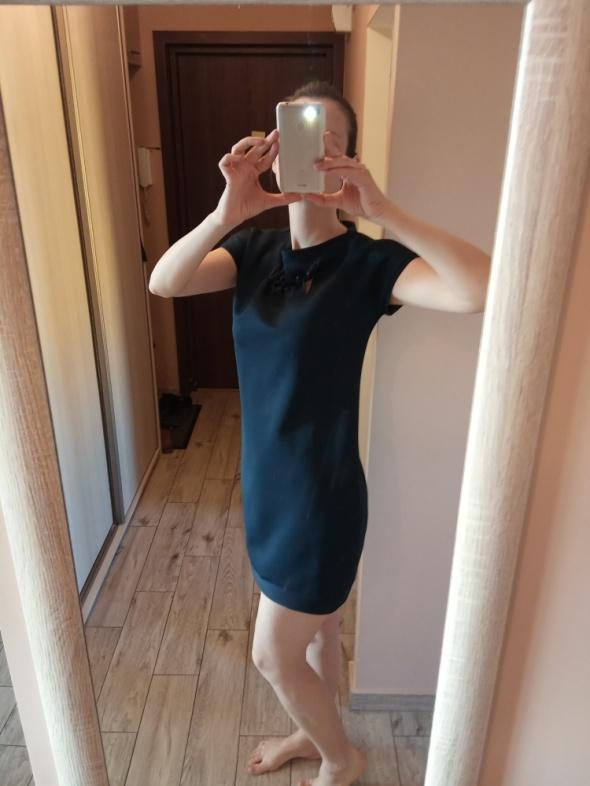 Granatowa sukienka casual do biura S M
