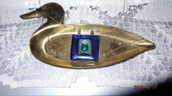 Naszyjnik szkło weneckie kwadrat kobalt