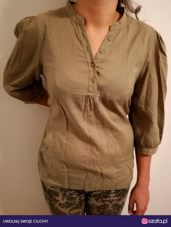 Bawełniana bluzka koszula H&M 38 M brązowa wzór kwiatów
