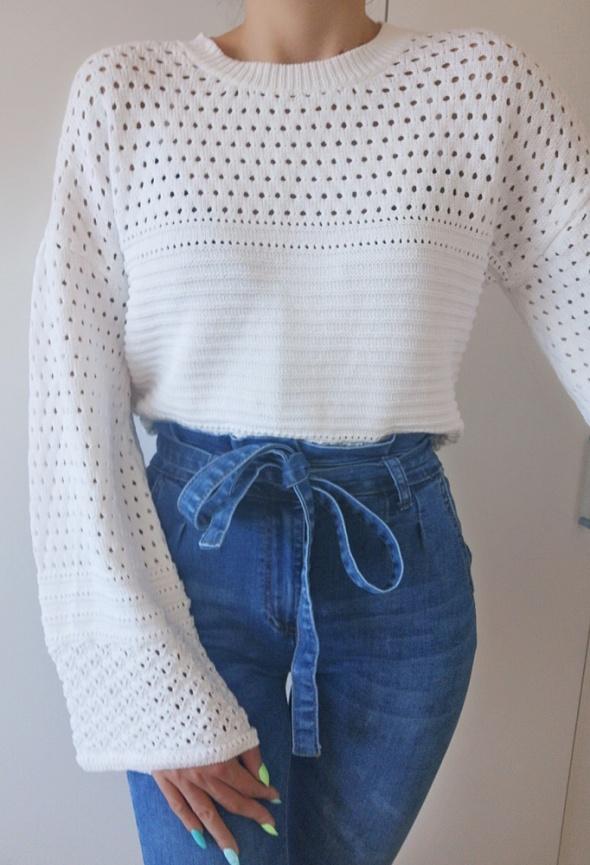 Sweter damski szydełko szerokie rękawy biel 40 L