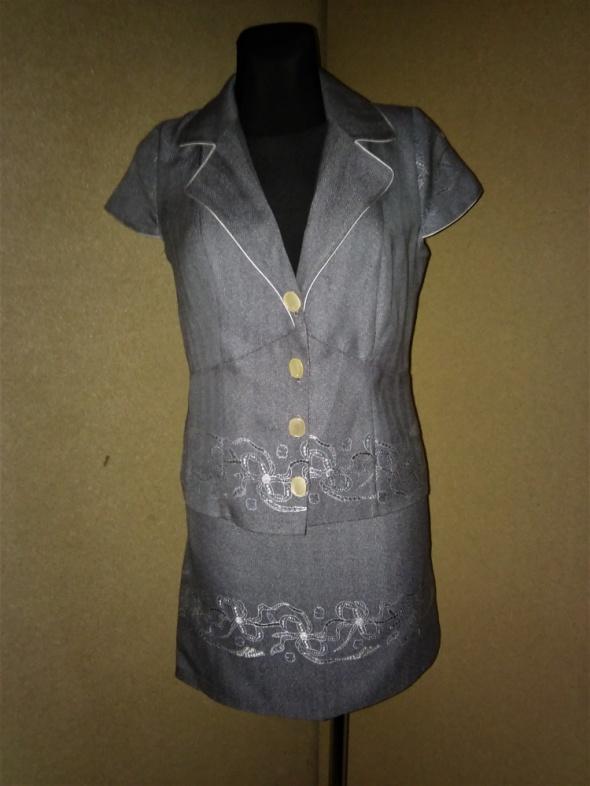 Szary letni komplet spódnica żakiet 36