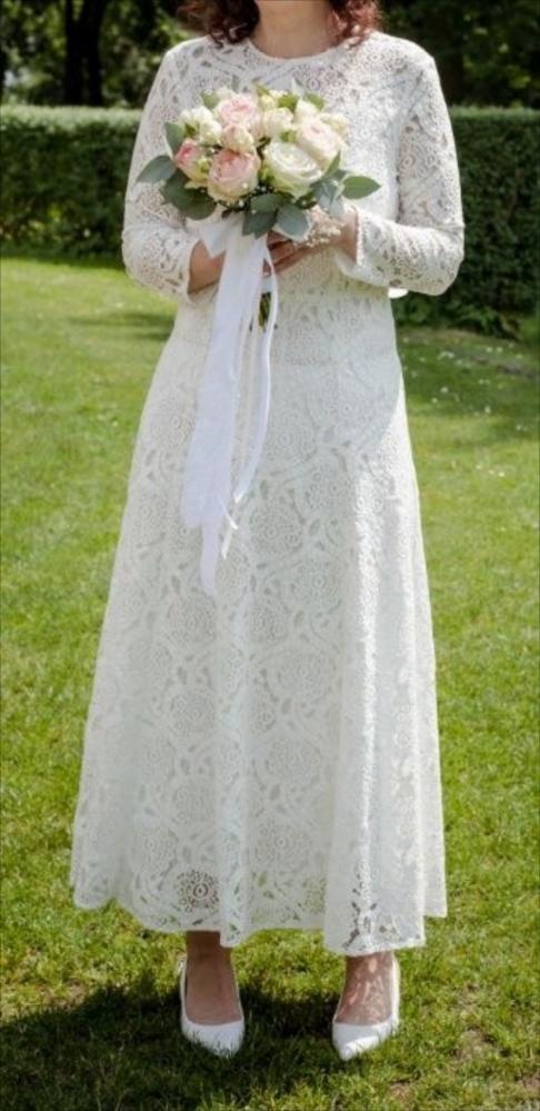 Koronkowa suknia ślubna wizytowa boho 38...