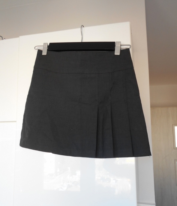 Benetton plisowana krótka mini spódniczka grafitowa uczennica p...