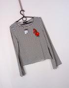 Primark biała czarna paskowana bluzeczka naszywka haftowane kwi...
