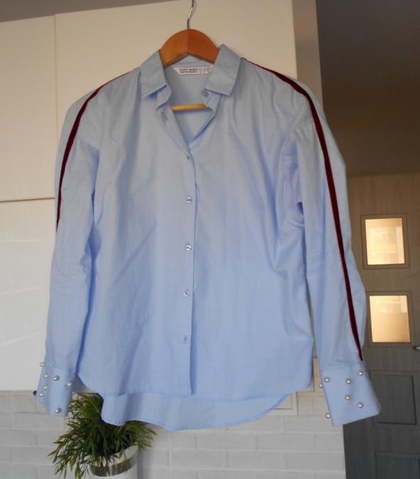 Zara niebieska koszula oversize baby blue paski perły