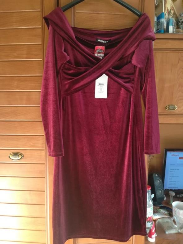 Nowa wieczorowa welurowa sukienka 44 burgund