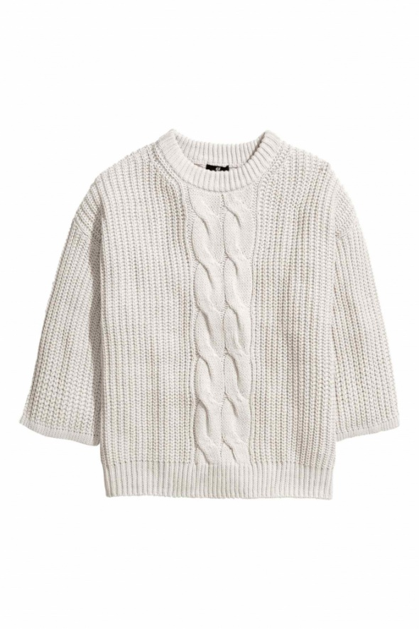 Szary sweter H&M 38 M oversize 40 L warkocz włóczka 42 XL gruby ciepły