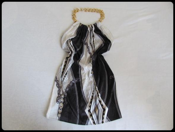 LIPSY LONDON Lekka sukienka ze złotym łańcuchem na szyję ODKRYTE plecy 38
