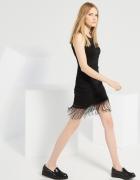 Czarna sukienka w stylu Boho na lato we wzory z frędzlami...