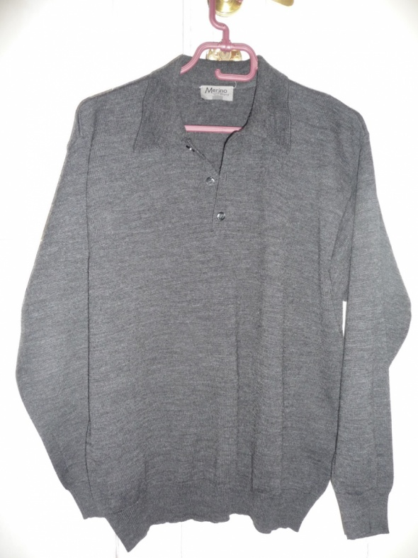Sweter polo szary M