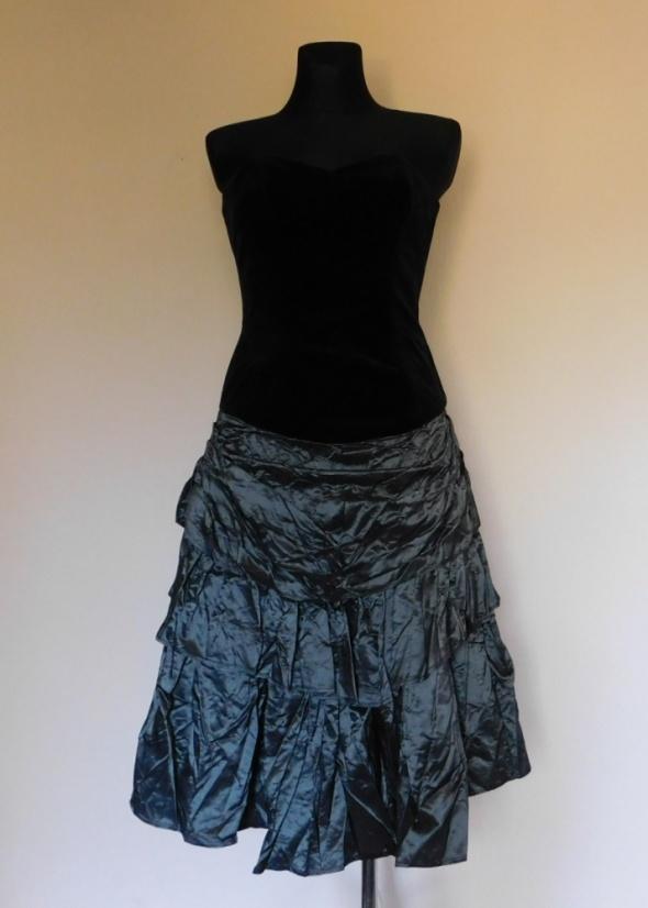 Richards suknia welur czarna szara 38