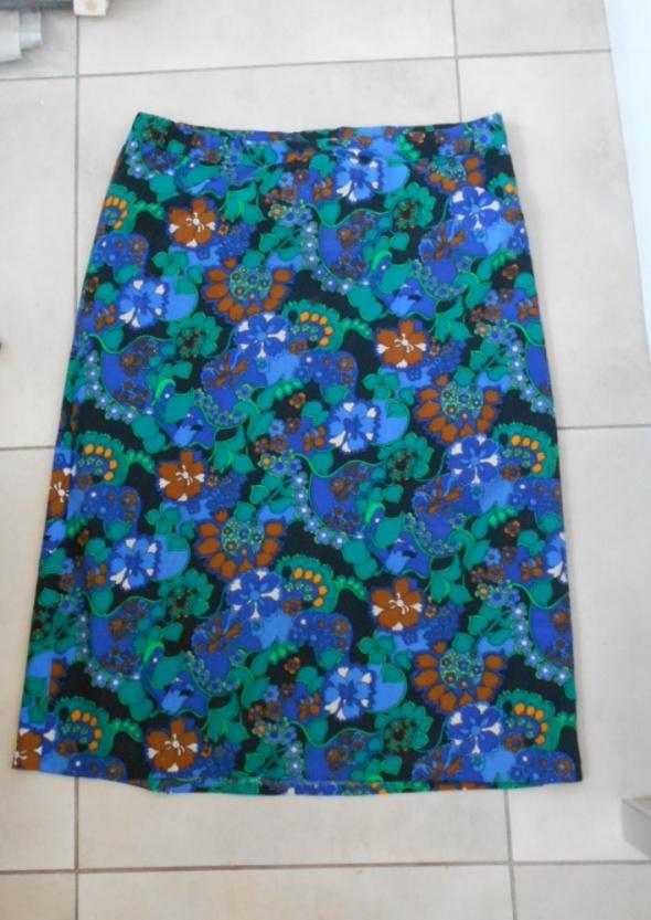 vintage spódnica midi wzory kwiaty