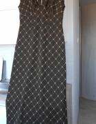 vintage brązowa długa sukienka złota nitka retro...