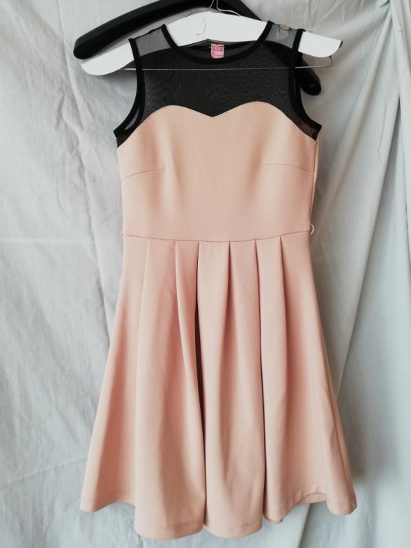 Kremowa sukienka z siateczką Mohito