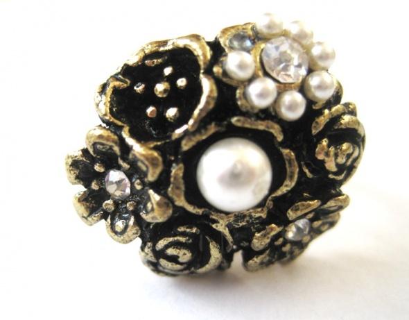 pierścionek złoty biały kwiat kwiaty perełka