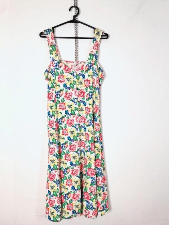 Biała sukienka wzór motyw kolorowe kwiaty ozdobne guziczki deko...