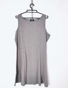 George Plus Size Szara popielata melanżowa sukienka na szelkach...