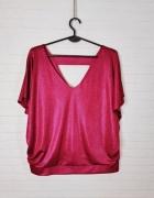 Dorothy Perkins Plus Size Fioletowa świecąca luźna bluzka krótk...