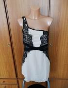 Piękna sukienka beżowa z czarną koronką Bershka M NOWA z metkam...