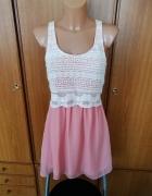 Piękna sukienka różowa z ażurową górą Bershka S NOWA z metkami...