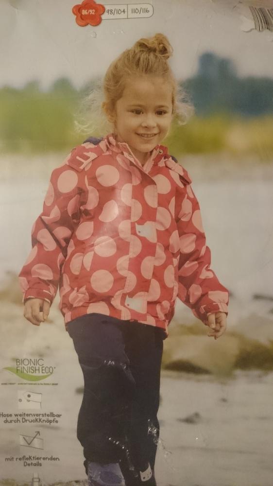 Kurtka przeciwdeszczowa ze spodniami dla dziewczynki 86 92 NOWA