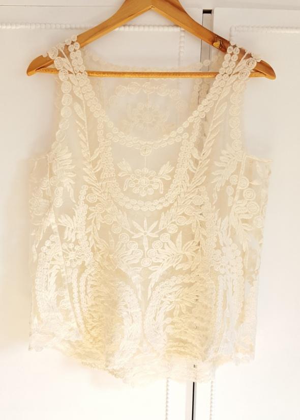 Nowy top bluzka biały kremowy 38 M siateczka haft boho hippie