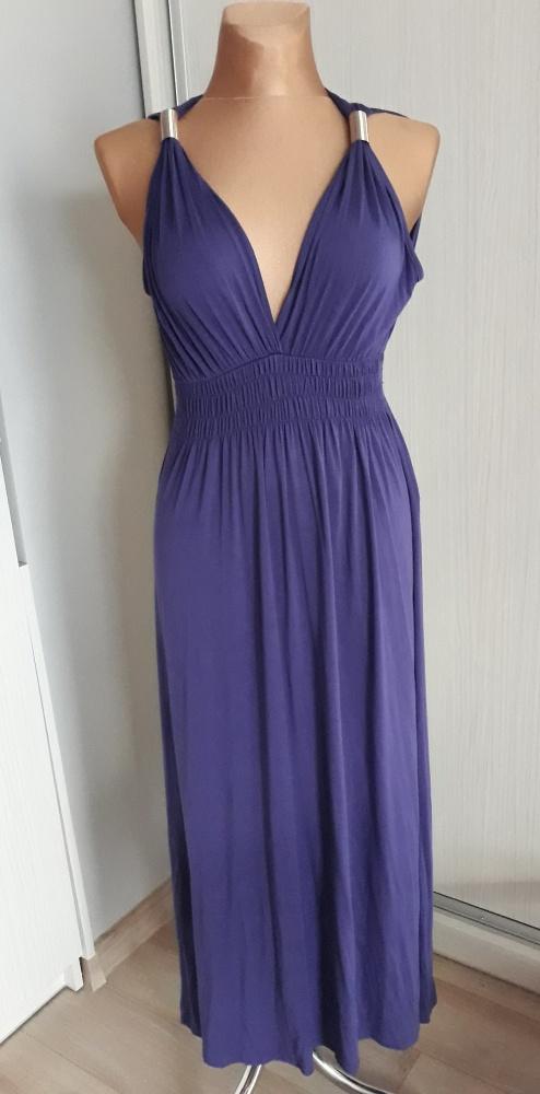 Fiolkowa sukienka 40 42 maxi duży biust