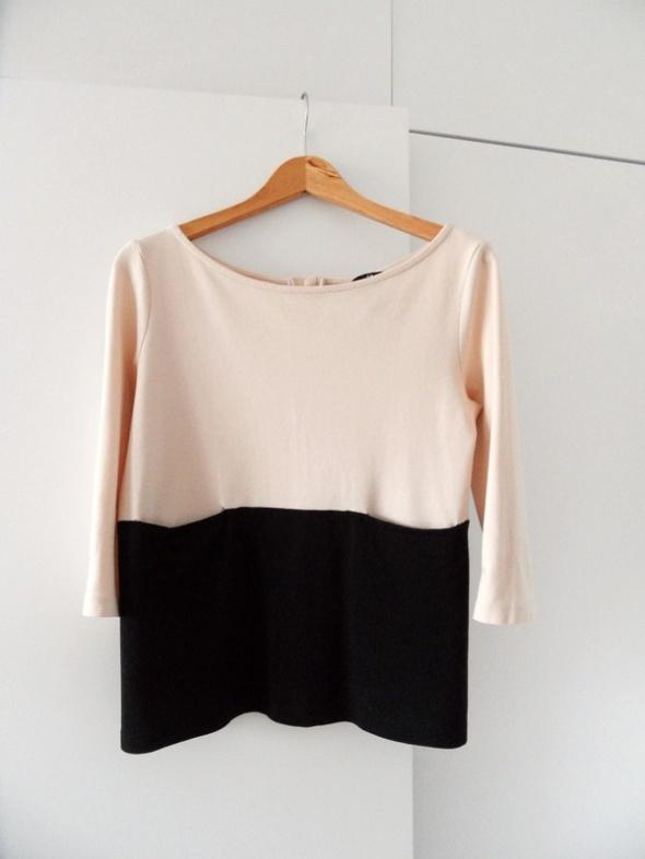 Beżowo czarna bluzka H&M