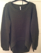 khaki asymetryczny sweter...