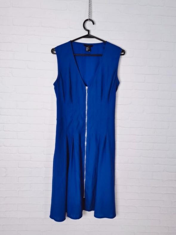 H&M Niebieska kobaltowa przewiewna sukienka zamek na przodzie