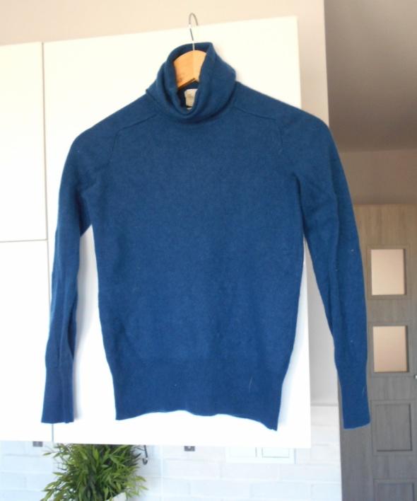 Zara granatowy kaszmirowy sweter kaszmir golf