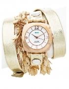 Pozłacany zegarek z podwójnym pozłacanym łańcuchem liści LA MER