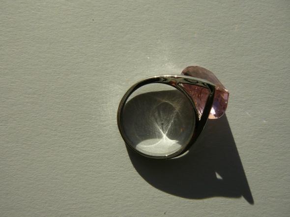 pierścionek 925 różowe szkiełko