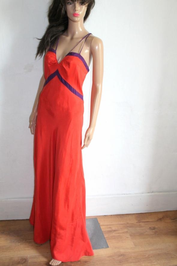 Jedwabna maxi sukienka r XL