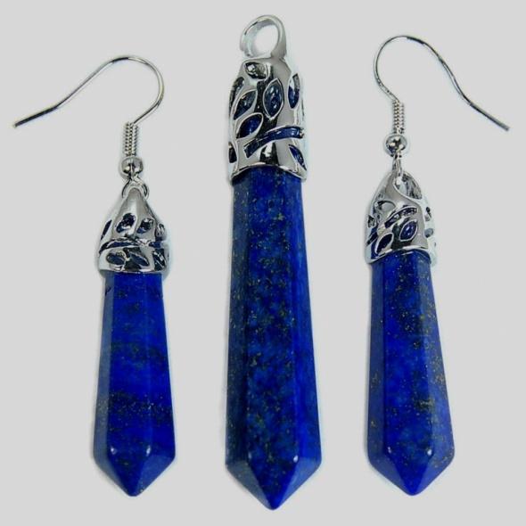 Komplety Lapis lazuli piękny zestaw biżuterii w srebrze