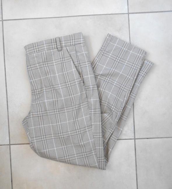 Zara nowe cygaretki spodnie w kratkę beżowe nude