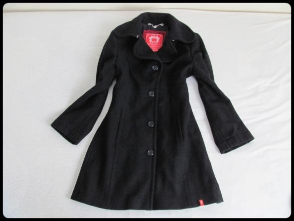 edc czarny wełniany płaszcz rozmiar 40 L WEŁNA 70 procent