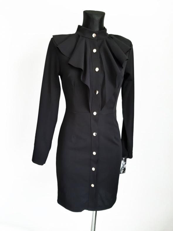 Sukienka z żabotem retro vintage guziki NOWA XS S