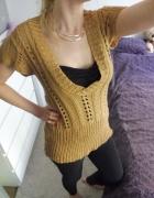 Sweterek tunika ażurek miodowy