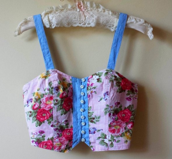 Crop top gorset floral piękny M pin up