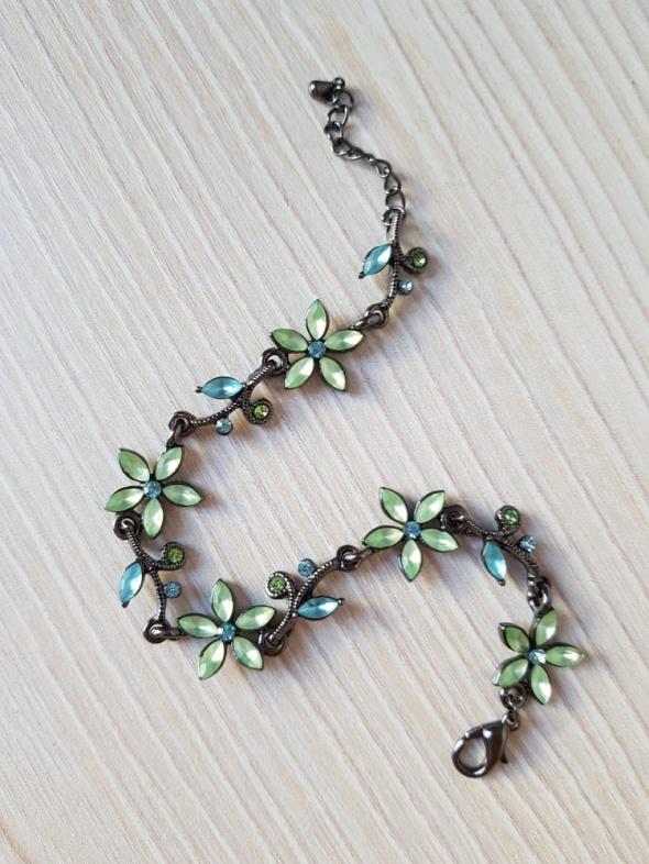 Bransoletka Bijou Brigitte niebiesko zielona w kwiaty